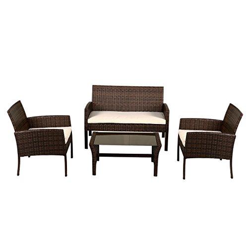 Art Deco Sectional Sofa - Shining Patio Furniture Wicker Rattan Sofa Set Garden Coffee Table 4 Pieces