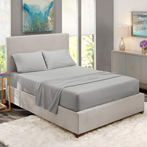 """Nestl Bedding Damask Dobby Stripe 4 Piece Set – 14""""-16"""" Deep Pocket Fitted Sheet – Ultra Soft Double Brushed Microfiber Top Sheet – 2 Hypoallergenic Wrinkle Free Cooling Pillow Cases, King - Silver"""