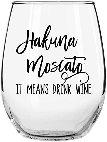 Hakuna Moscato It Means Drink Wine Funny Stemless Wine Glass Momstir 15oz for Women - Unique Present for Her, Mom, Wife, Girlfriend, Sister, Grandmother, Aunt