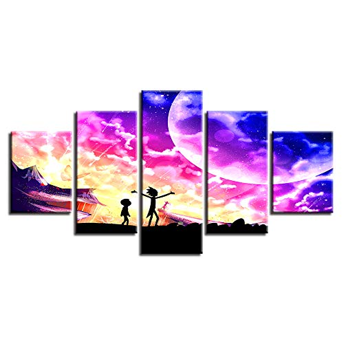 40x60 40x80 40x100cm No Frame On The Wall Art Modular Pictures for Living Room 5 Panel Cartoon Characters Home Decoration Abstract Painting On Canvas