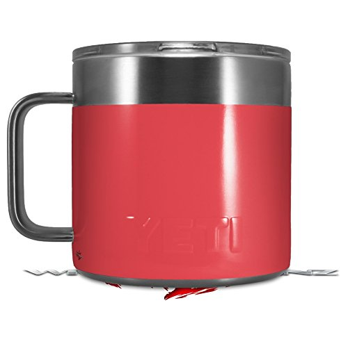 Skin Decal Wrap for Yeti Coffee Mug 14oz Solids Collection Coral - 14 oz CUP NOT INCLUDED by WraptorSkinz