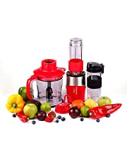 Professional Blender, Chopper, Food Processor with 2 Personal Jars for Single Serve, Smoothie Cup, BPA-Free – 4 Piece Set …