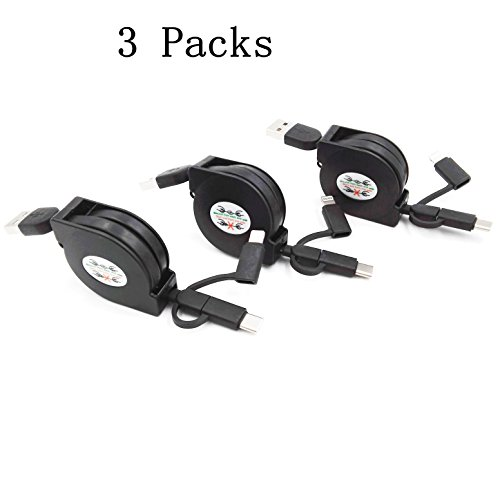 YICHUMY 3 Packs Retractable Multi Cable 3.3ft 3 in 1 Retractable USB Charging Cable Fast Charge Type C/Lightning/ Micro USB Cable for iPhone 7 7Plus 6s 6sPlus 6 6Plus, Samsung Galaxy, LG, HTC (Black)