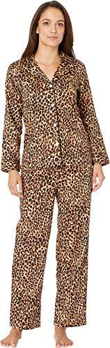 (Lauren Ralph Lauren Women's Petite Sateen Long Sleeve Classic Notch Collar Pajama Set Leopard Print Medium)