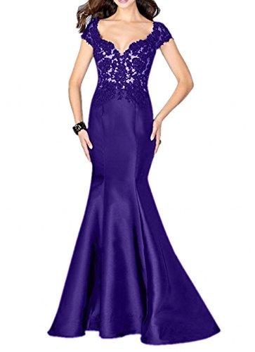 La_mia Brau Elegant Lang Spitze Abendkleider Ballkleider Partykleider Jugendweihe Kleider Meerjungfrau Etuikleider Violett nITJvi7