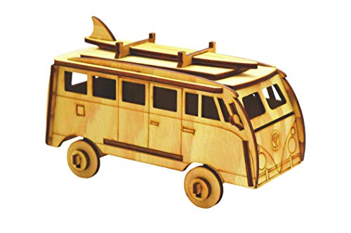 Hippie Van Laser-Cut 3D Wooden Puzzle made out of Pine Plywood, Excellent Gift for birhtdays, DIY project Easy to Assemble, Plastic Free (Hippie-diy)