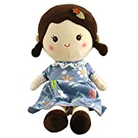 Houwsbaby Stuffed Doll for Girl Soft Plush Snuggle Play Toy Sleeping & Cuddle Buddy in Flower Dress Halloween Christmas,15 inches (Blue