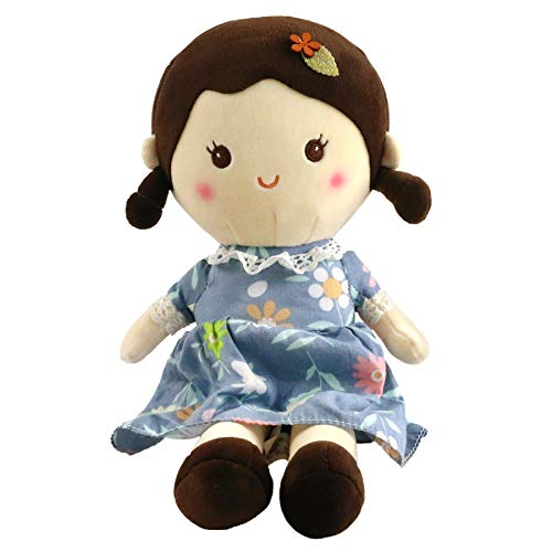 Houwsbaby Stuffed Doll for Girl Soft Plush Snuggle Play Toy Sleeping & Cuddle Buddy in Flower Dress,15 inches (Blue