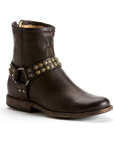 FRYE Women's Phillip Studded Harness Boot, Dark Brown Soft Vintage Leather, 8.5 M US by FRYE