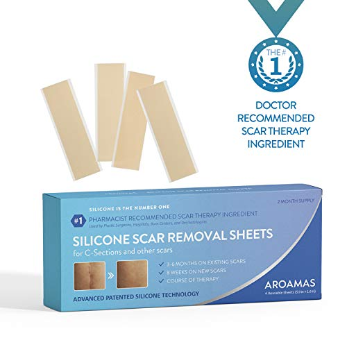 (Aroamas Professional Silicone C-Section Scar Removal Sheets, 4pcs (2 Month Supply))
