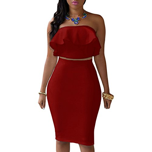 Set Bandage (Kalin L Women's Ruffle Crop Top Maxi Skirt Set 2 Piece Outfit Bandage Nightclub Dress (M, Hot Red))