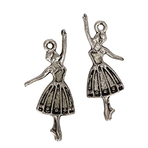 20 x Dancing Ballerina Charms Beads 30x20mm Antique Silver Tone for Charms Bracelet Necklace Jewelry Findings #mcz1146