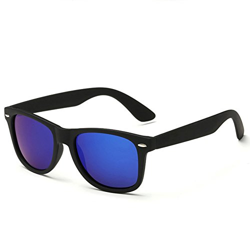 Pro Acme Wayfarer Polarized Sunglasses (Matte Black Frame/Dark Blue Mirrored - Blue Wayfarer Lens