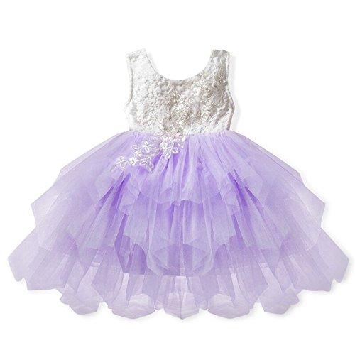 e9e80faba Bebés Vestido de Princesas Encaje Floral Niña Bordado Tutú Traje de Fiesta  Dress para Cumpleaños Boda Bautismo Púrpura Claro/130 Delicado - ...