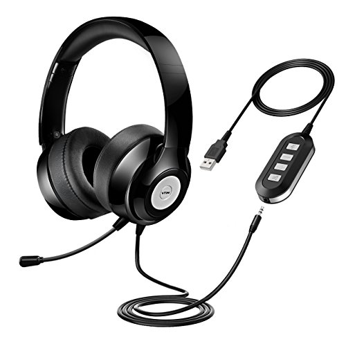 Vtin Headset with Microphone, USB Headset/ 3.5mm Computer Headphone Headset Noise Cancelling and Hands-Free with Mic, Stereo On-Ear Wired Business Headset for Skype, Call Center, PC, Phone, Mac ()