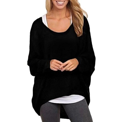 VIASA Women Batwing Sleeve Loose Sweater Pullover Casual Top Blouse (L, Black)