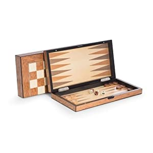 Bey Berk Lacquer Finished Wood Backgammon & Chess Set