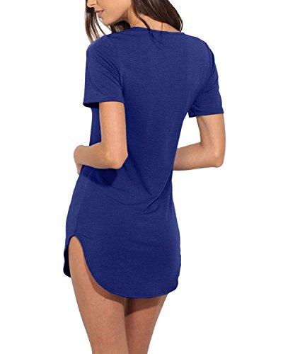 StyleDome Mujer Camiseta Playa Mangas Cortas Cuello Pico Con Tiras Blusa Elegante Oficina Azul