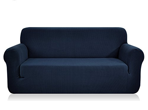 CHUN YI 1-Piece Jacquard High Stretch Loveseat Slipcover, Polyester and Spandex 2 Seater Cushion Couch Cover Coat Slipcover, Furniture Protector Cover for Sofa and Couch(Loveseat, Dark Blue) (3 Seater 2 Seater)