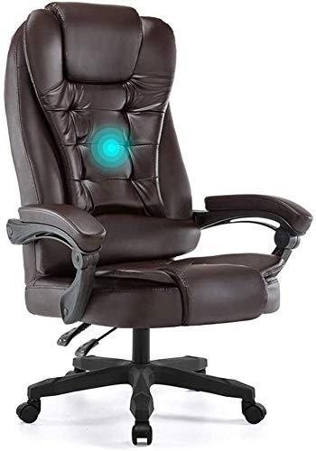 DFKDGL Silla reclinable con Respaldo Alto Asiento Grande y funcion de inclinacion Masaje de Espalda y sillas de Escritorio de Primavera (Color: Beige) para Estudio de Oficina en casa