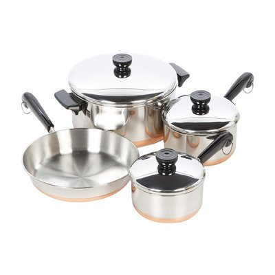 1400 Line Stainless Steel 7 Piece Cookware Set- Material: Stainless steel-Pieces Included: 1 qt. covered saucepan, 1.5 qt. covered saucepan, 4.5 qt. covered dutch oven-(Pack of Two)*