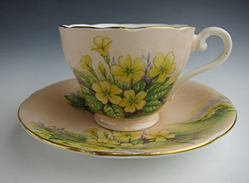 Aynsley China (Pastel Orange & Yellow Fowers) Cup & Saucer Set EXCELLENT