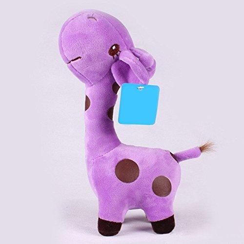 38x18cm Unisex Baby Kid Cute birthday Gift Plush Purple Giraffe Soft Toy Animal Dear Doll (Paint Brush Birthday Candles)