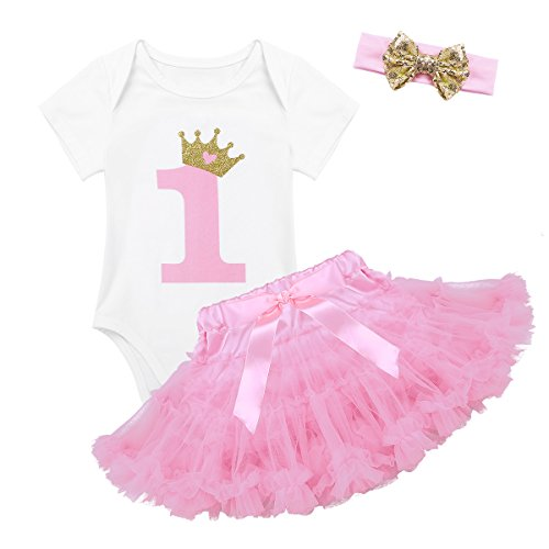 (Agoky Baby Girls Number 1 Printed First Birthday Tutu Skirted Romper with Headband Set White&Pink 9-12 Months)