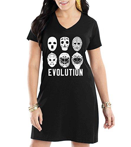 Women's Evolution of Goalie Masks V-Neck Nightshirt (Black, Large/X-Large)