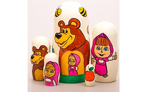 Matryoshka 5pcs Russian Tales Wooden Russian Nesting Dolls. Gift Matreshka, Handmade Babushka Doll