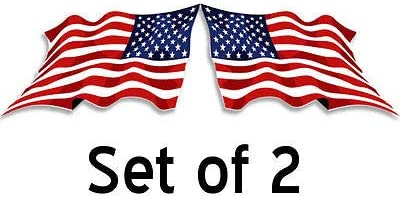 Set of 2 us USA Mirror Waving American Flag Stickers /• Facing L//R