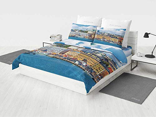 KaithLong Cityscape Bedding Sets Scenic Summer of The Market Square Old Town Helsinki Finnish Northern Skyline Home Printing Four Pieces of Bedding Set Multi -