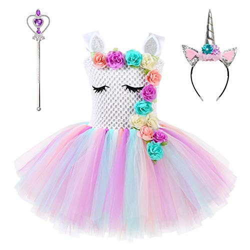 Little Girls Unicorn Tutu Dresses Flower Pageant Princess Party Cosplay Costume