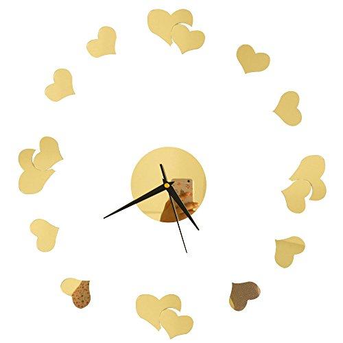 Happy Hours - Modern Digital Mirror Wall Clock / 3D Home Decoration Sticker Design Bell / Removable Acrylic Sweet Heart...  sweet home 3d mirror effect | Sweet home 3D – Glass wall 41IExoGP6aL