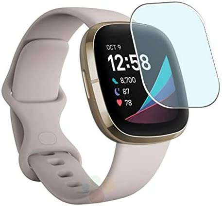 Puccy 3 Pack Anti Blue Light Screen Protector Film, Compatible with Fitbit Sense TPU Guard ( Not Tempered Glass Protectors )