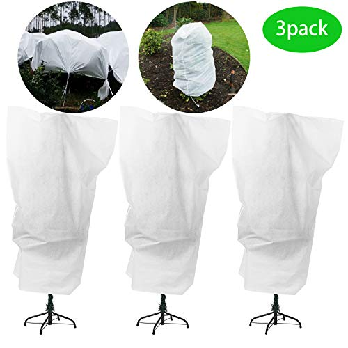 Alpurple 3 Packs Winter Drawstring Plant Covers – 47″ X 31.5″ Warm Plant Protection Cover Bags, Frost Cloth Blanket Protecting Fruit Tree Potted Plants from Freezing Animals Eating