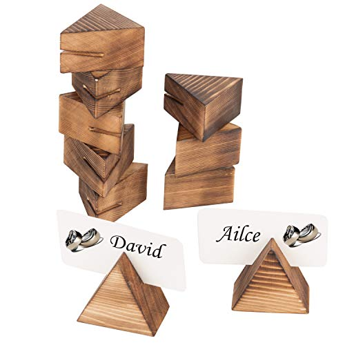 Contemporary Place Card Holders - MyGift Geometric Wooden 2-Inch Place Card Holders, Set of 10