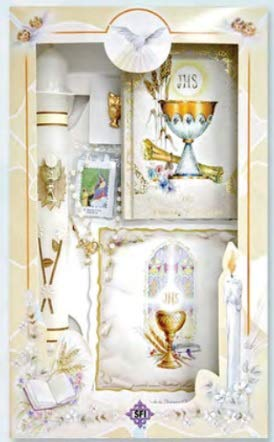 (Spanish Handmade First Holy Communion Set for Girl, Boy Holy Cup of Chris : Candle, Bible, Chalice Lapel Pin, Laminated Scapular, and Rosary -Religious Gift )