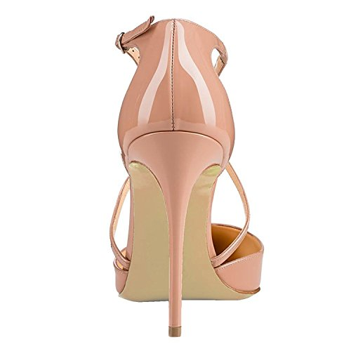 Toe Beige Cross Womens Buckled Shoes Court Soireelady Pointed Strap Pumps qE4xvA
