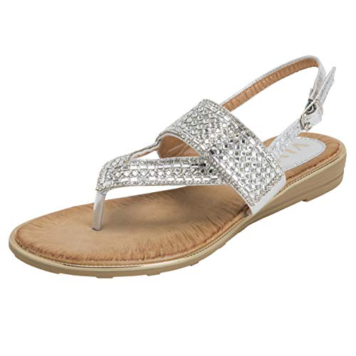VIVASHOES Womens Slingback Summer Strappy Diamante Toe Post Wedge Heel Sandals - Silver - US8/EU39 - KL0401