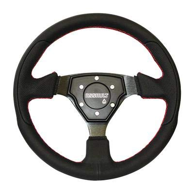 Assault Industries 100005SW0103 Black/Red Stitch Tomahawk Steering Wheel with Billet Front Plate