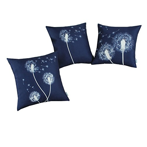 Set of 3, CaliTime Soft Canvas Throw Pillow Covers Cases for Couch Sofa Home Decor, 18 X 18 Inches, Dandelion Print, Navy Blue (Linen Seed Pillow)