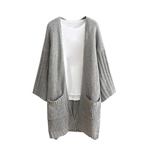Women Cardigan Lady Long Sleeve Loose Knitted Open Front Sweater with Pocket Outwear Coat (L, Gray)