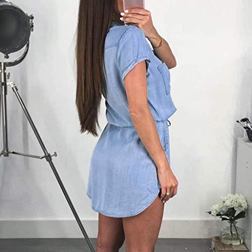 Quealent Women's Plus Size Long Short Sleeve Dress Casual Loose Pocket T-Shirt Dress Sky Blue by Quealent (Image #2)