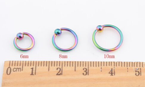 1pc 6mm Multi color fashion men women lip bar labret nose ring belly navel pircing ear plug stainless steel body jewelry