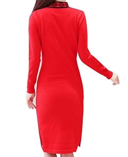 Cinese Donne Colore Puro Rosso Vestito Il Ricamato Delle Coolred elegante Cheongsam Ha Stile EWxwRfnBPq