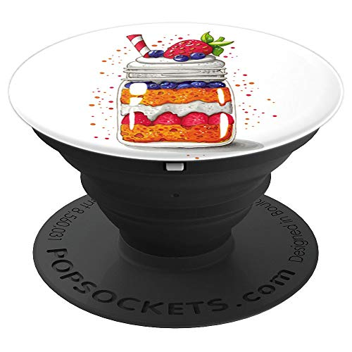 Yummy Fruit Trifle Jar Julia Henze Designed - PopSockets Grip and Stand for Phones and Tablets ()