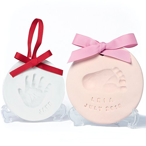 Gift Footprint - Baby Leon Footprint Ornament Kit | White + Pink Clay Molds & Paint Set | Best Baby Shower Gift for Newborn Girls & Boys | New Mom Gift Registry | Handprint & Pet Paw Print Keepsake | Safe Air Dry Clay