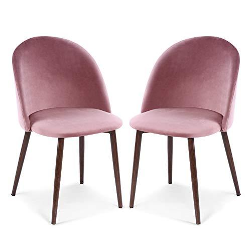 EdgeMod Sedona Velvet Dining Chair, Set of 2, Dusty Rose/Walnut