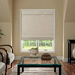 Cordless Fabric Roman Shade Linen 23x64